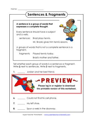Fillable Online Sentences & Fragments - Super Teacher Worksheets ...