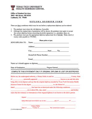 Fillable Online ttuhsc Diploma Re-order Form - Texas Tech
