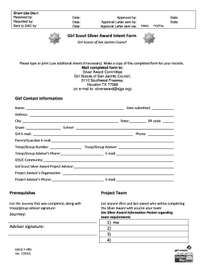 Fillable Online gssjc Girl Contact Information Girl Scout Silver ...