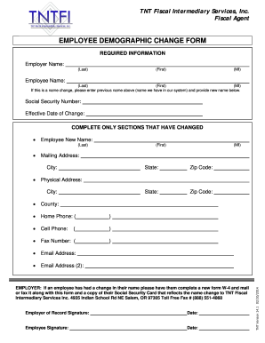 Fillable Online lanecounty EMPLOYEE DEMOGRAPHIC CHANGE FORM - Full ...