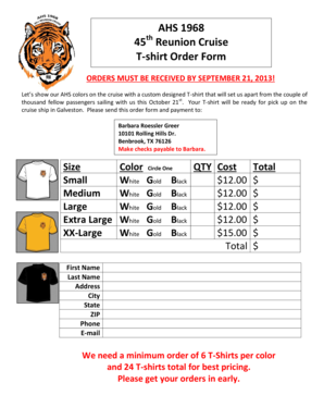 Download T Shirt Order Form