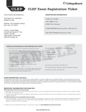 Fillable Online CLEP Exam Registration Ticket - Strayer