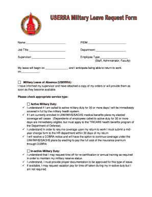 Military Leave Request Form - Fill Online, Printable, Fillable ...
