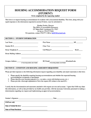 Fillable Online bucknell Housing accommodation request form ...