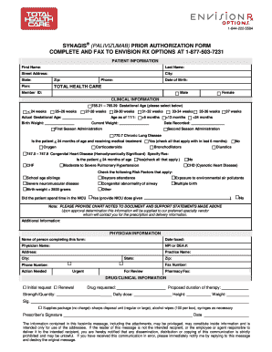 Fillable Online Synagis Prior Authorization Form - Total