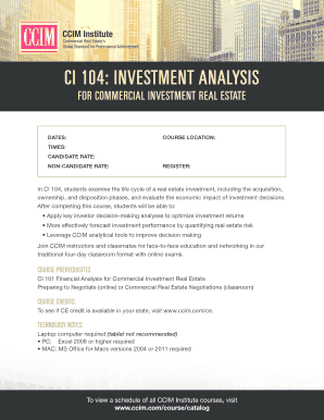 CI 104 Investment Analysis for Commercial - CCIM Institute