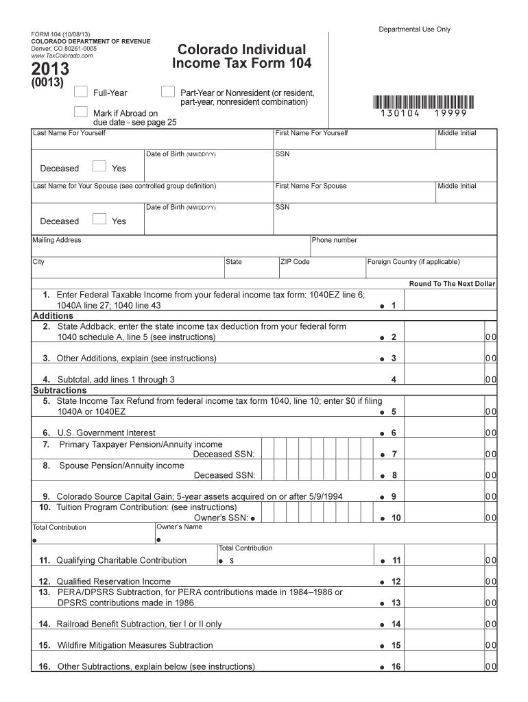 Colorado Individual Income Tax Form 104 Fill Online
