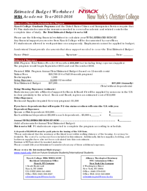 MBA Estimated Budget Worksheet PDF - Nyack College