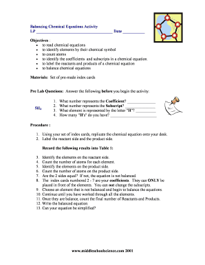 balancing chemical equations activity answers form