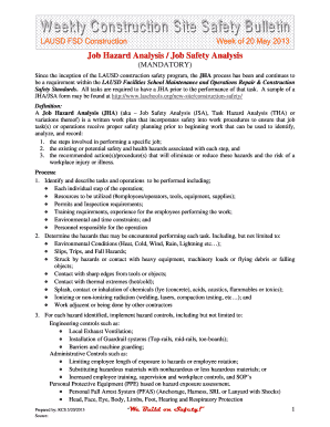 Fillable online laschools weekly construction site safety for Weekly bulletin template