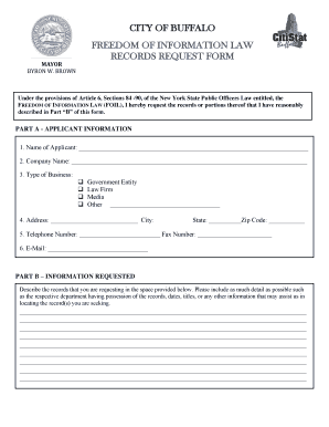 Fillable Online FOIL Request Form - City of Buffalo Fax Email ...