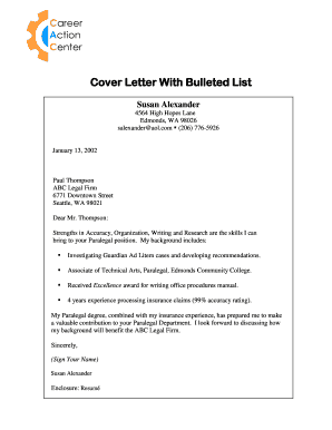 Fillable Online Cover Letter With Bulleted List Fax Email ...