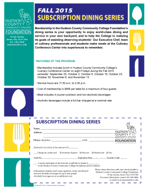 Subscription dining series - Hudson County Community College - hccc