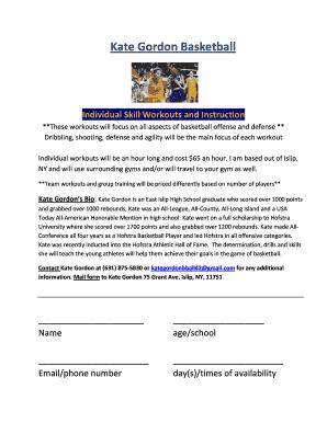 Editable individual basketball workouts - Fill, Print