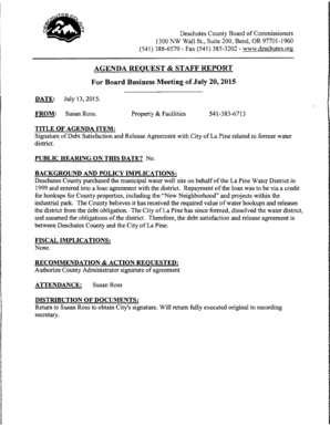 Release Form - Water District - to City of La Pine - Deschutes County