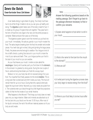Fillable Online 5th Grade Reading Comprehension Worksheets Fifth ...