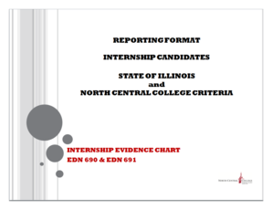 EDN 690/691 Internship Evidence Chart - North Central College - northcentralcollege