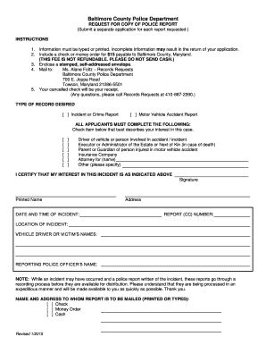 Fillable Online Baltimore County 's Police Report Request Form