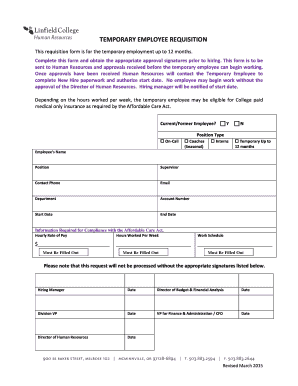 Fillable online linfield temporary employee requisition form rate this form altavistaventures Choice Image