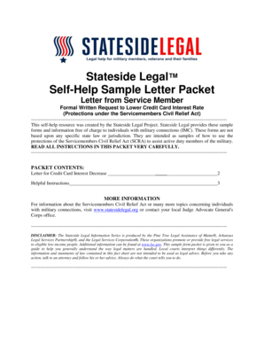 Fillable Online Statesidelegal Letter Credit Card Interest Rate