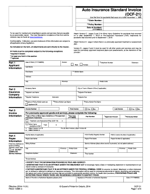 Auto Insurance Standard Invoice OCF 21 form number 1208E2