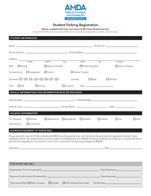 Fillable Online amda LA Parking Registration Form and Guidelines ...