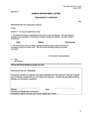 SAMPLE APPOINTMENT LETTER Organization 's Letterhead ...