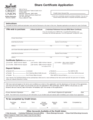 Fillable Online Share Certificate Application & Disclosure ...