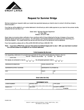 Fillable Online Summer Bridge Deferment Request - Great Lakes Fax ...