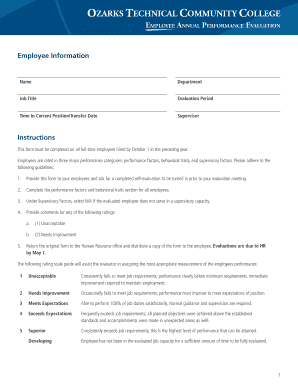 Employee Evaluation Form - OTC Human Resources