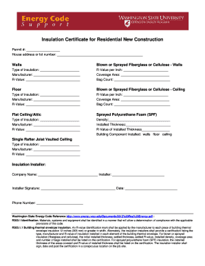 Fillable Online pendoreilleco Insulation Certificate Fax Email ...