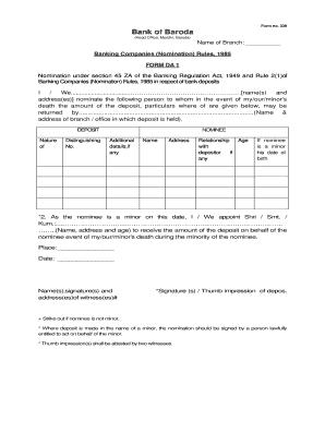 federal bank nomination form