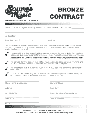 BRONZE CONTRACT - Sounds of Music DJs
