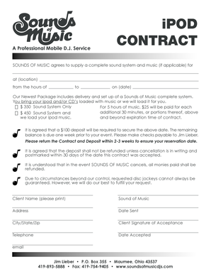IPOD CONTRACT - Sounds of Music DJs