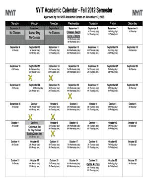 Nyit Academic Calendar Spring 2022.Fillable Online Iris Nyit Nyit Academic Calendar Fall 2012 Semester Aaup At Nyit Iris Nyit Fax Email Print Pdffiller