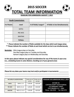 team snack schedule template