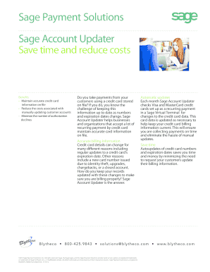 Fillable online sage account updater keep credit card information up to date fax email print - Bureau des contributions directes luxembourg ...