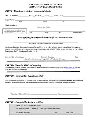 Fillable Online midlandstech Graduation Clearance Form