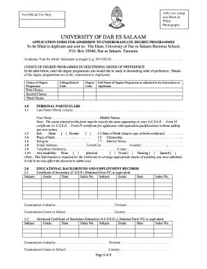 Udsm Undergraduate Application Forms - Fill Online, Printable ...