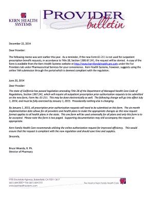 Fillable Online Tar Form Bulletin December 22 2014 Kern Family Health Care Fax Email Print Pdffiller