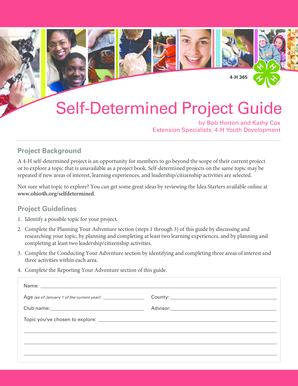 Fillable Online miami osu Self-determined project guide PDF