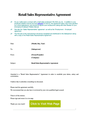 Retail Salesperson. This is a sample business contract providing the terms for hiring a retail salesperson.