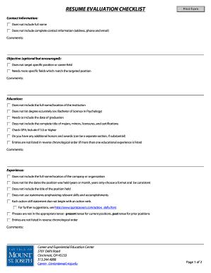 resume evaluation checklist