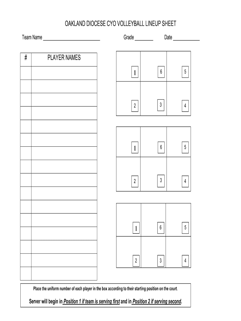 photo regarding Printable Volleyball Lineup Sheet named Volleyball Line Up Sheet - Fill On the net, Printable, Fillable