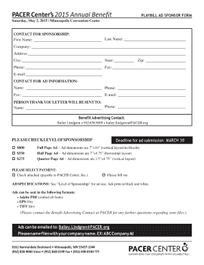 Playbill Ad Sponsor Form - PACER Center - pacer