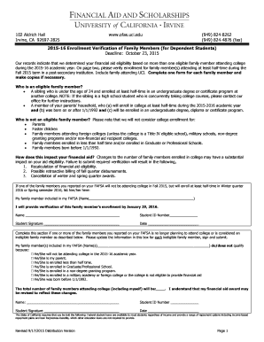 Fillable Online ofas uci Enrollment Verification For Family Member Form - Office of Financial ...