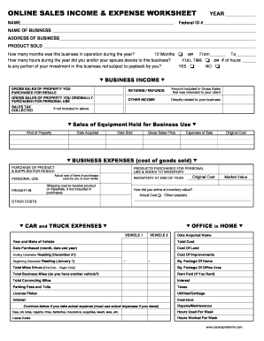 online sales income expense worksheet mer tax
