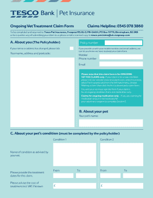 Tesco Pet Insurance Claim Form - Fill Online, Printable ...