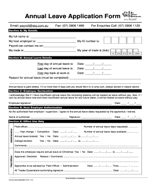 Rate This Form  Annual Leave Application Form