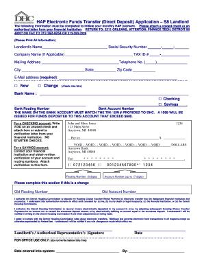 Fillable Online dhcmi Landlord Direct Deposit Form - Detroit